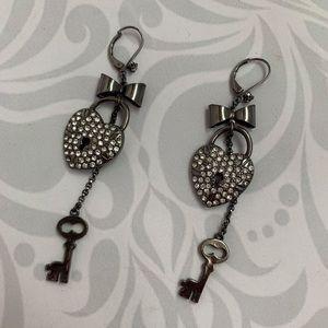 Betsy Johnson Key to My Heart Earrings